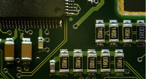 Closeup picture of components on a printed circuit board