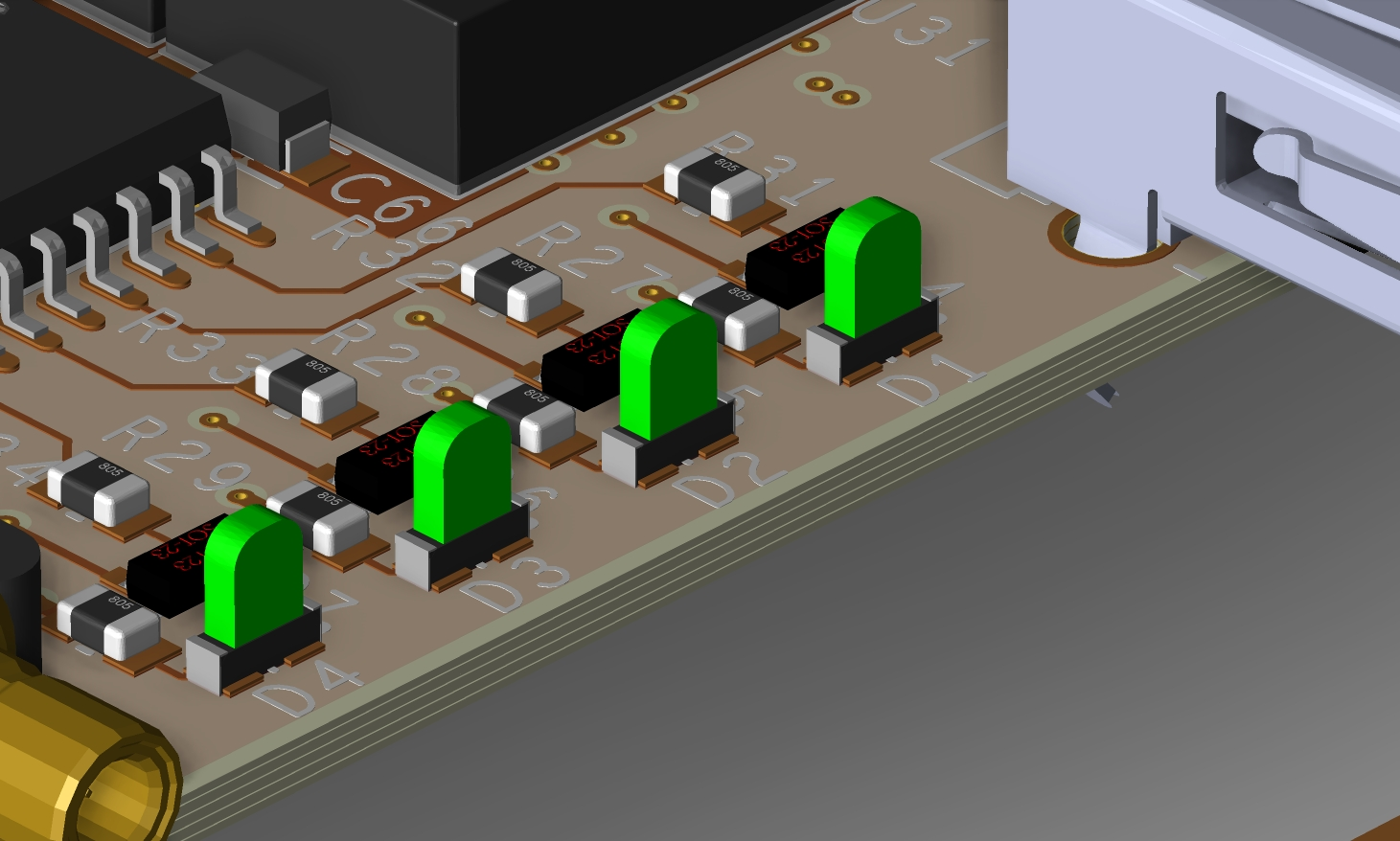 Screenshot of 3D layout showing component placement on their pads