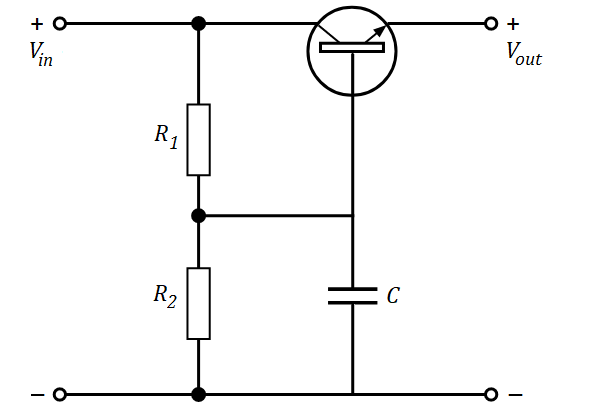 Capacitor multiplier circuit with a transistor