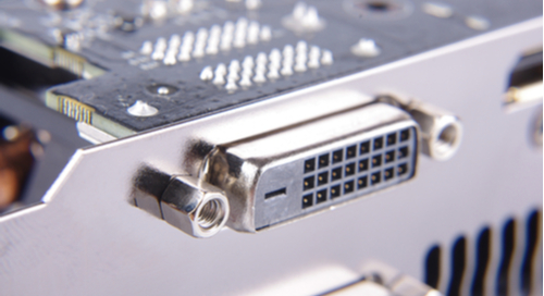 A port on a computer or monitor for DVI next to the circuit to follow it
