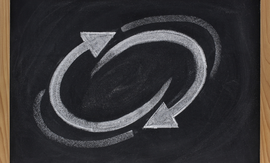 Feedback loop on a chalkboard