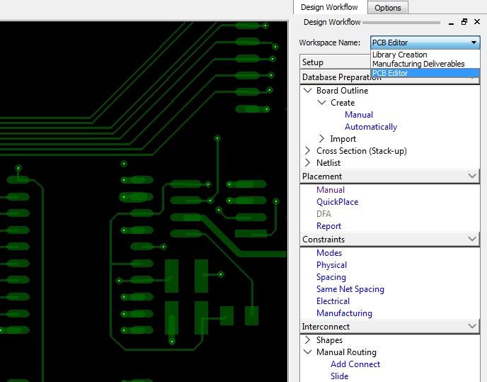 Screenshot of OrCAD PCB Designer's design workflow customization