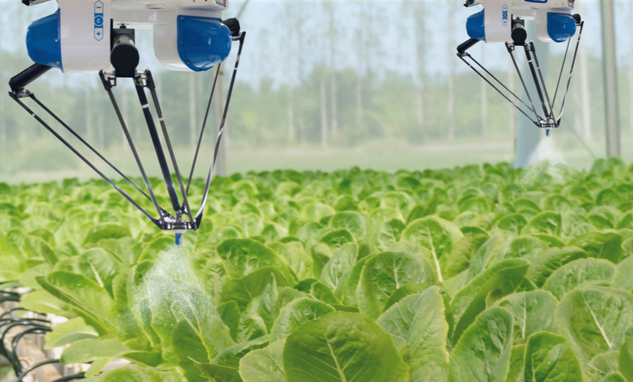 Drones assisting in the farming of crops