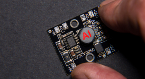 A microchip on a printed circuit board