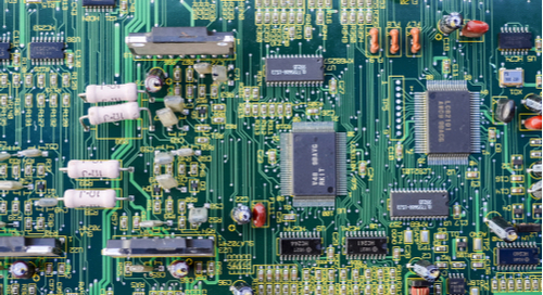 Large density of components on a printed circuit board