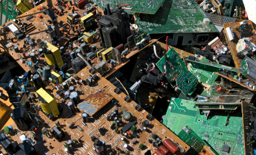 Pile of unusable PCBs