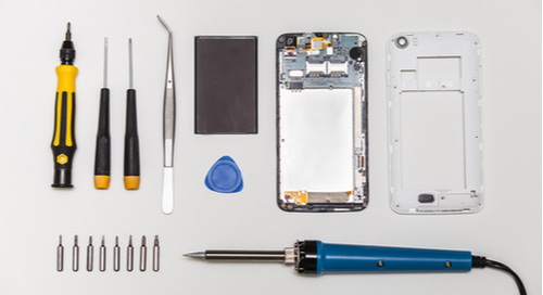 A mobile phone in disassembly
