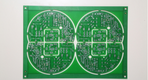 Picture of PCB panelization with two different boards laid out on it
