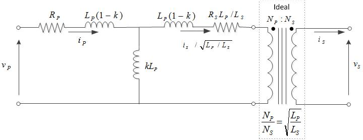 Nonideal linear transformer model circuit diagram