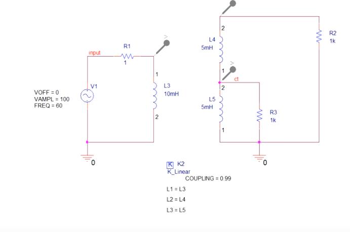 PSpice linear transformer model