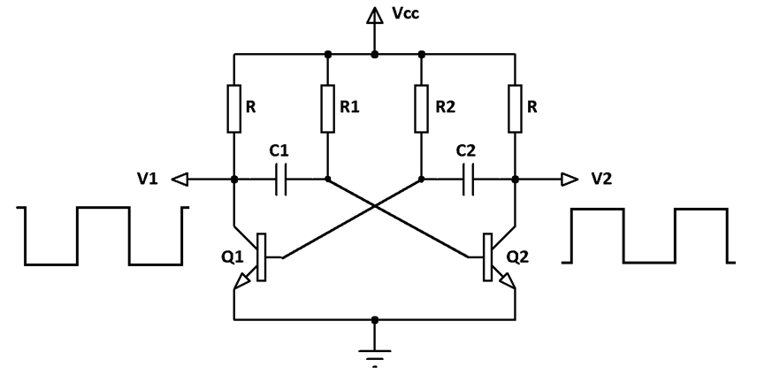 DC to square wave oscillator circuit