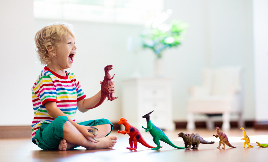 Picture of child playing with toy dinosaurs