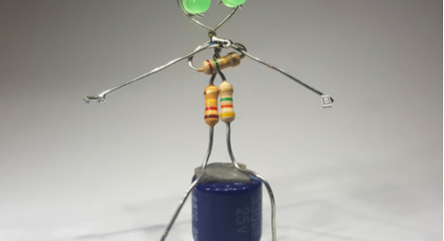 Figure made out of wires and circuit components