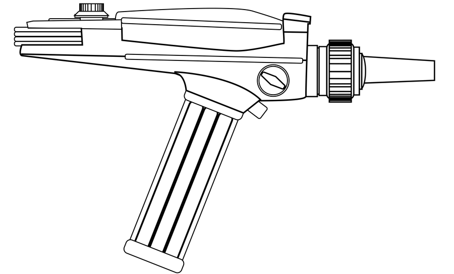 Line drawing of an original Star Trek Phaser