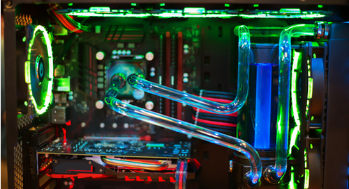 Fan with liquid cooling in a computer