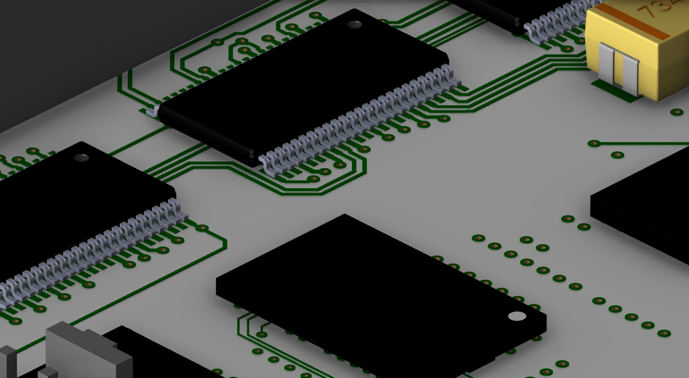 Screenshot of 3D layout showing top etch and components