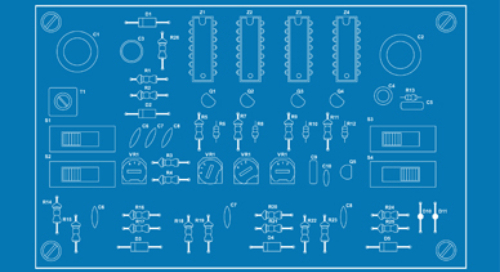 Circuit components laid out on a blue background