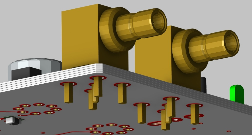 Screenshot of through hole components in OrCAD PCB Designer 3D layout