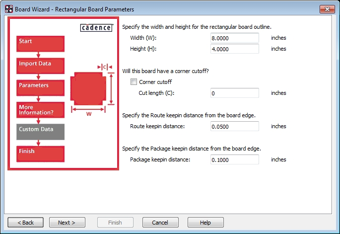 Screenshot of configuring board parameters in the board wizard of Allegro