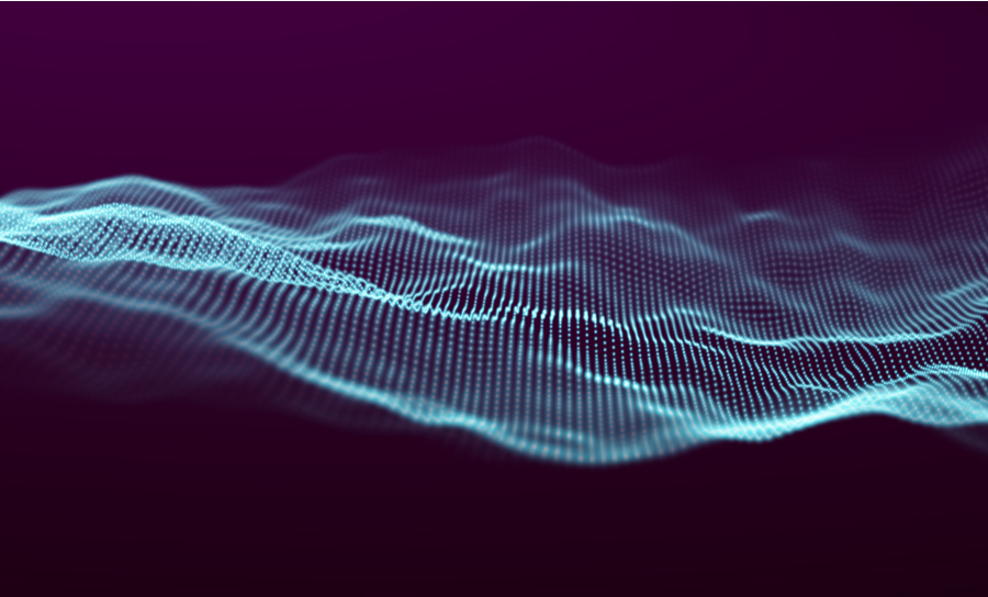 Digital wave across a dark background