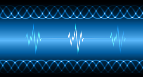 Blue signal wavelengths on a vector background