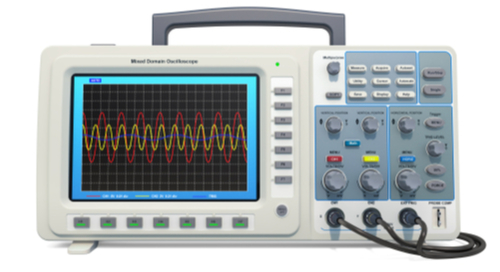 Oscilloscope showing signal graph