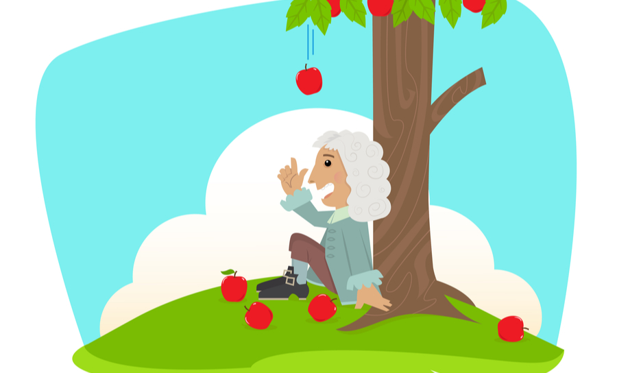 Caricature of Sir Isaac Newton being inspired to learn about gravity