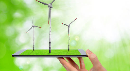 Wind turbines coming out of a tablet