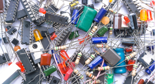Various electronic components in a pile