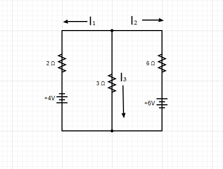 Circuit schematic showing current flow and resistor voltages