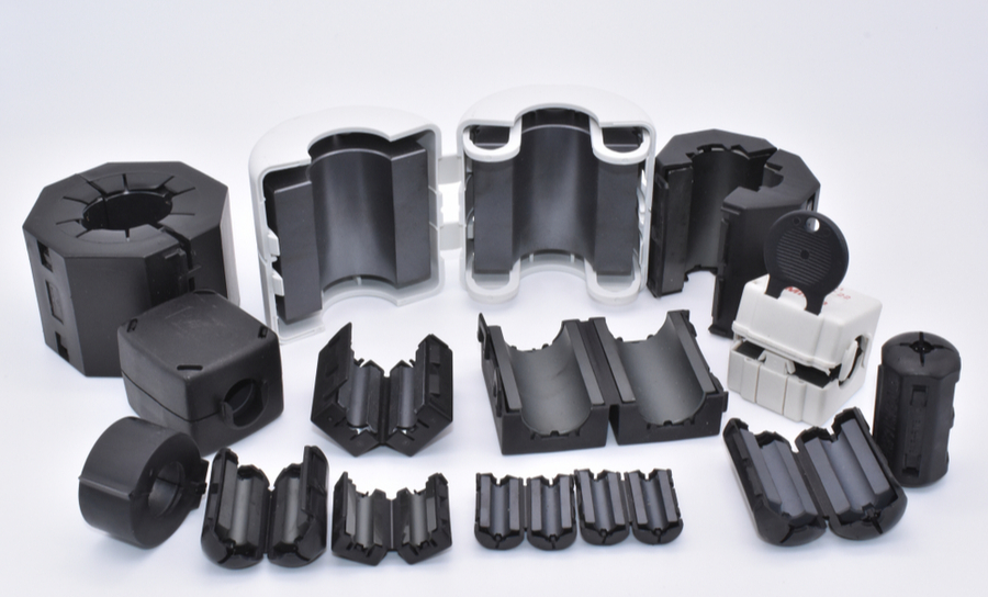 Collection of ferrite clamps and chokes