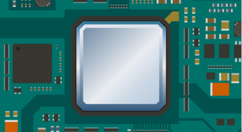Graphic of printed circuit board and various components