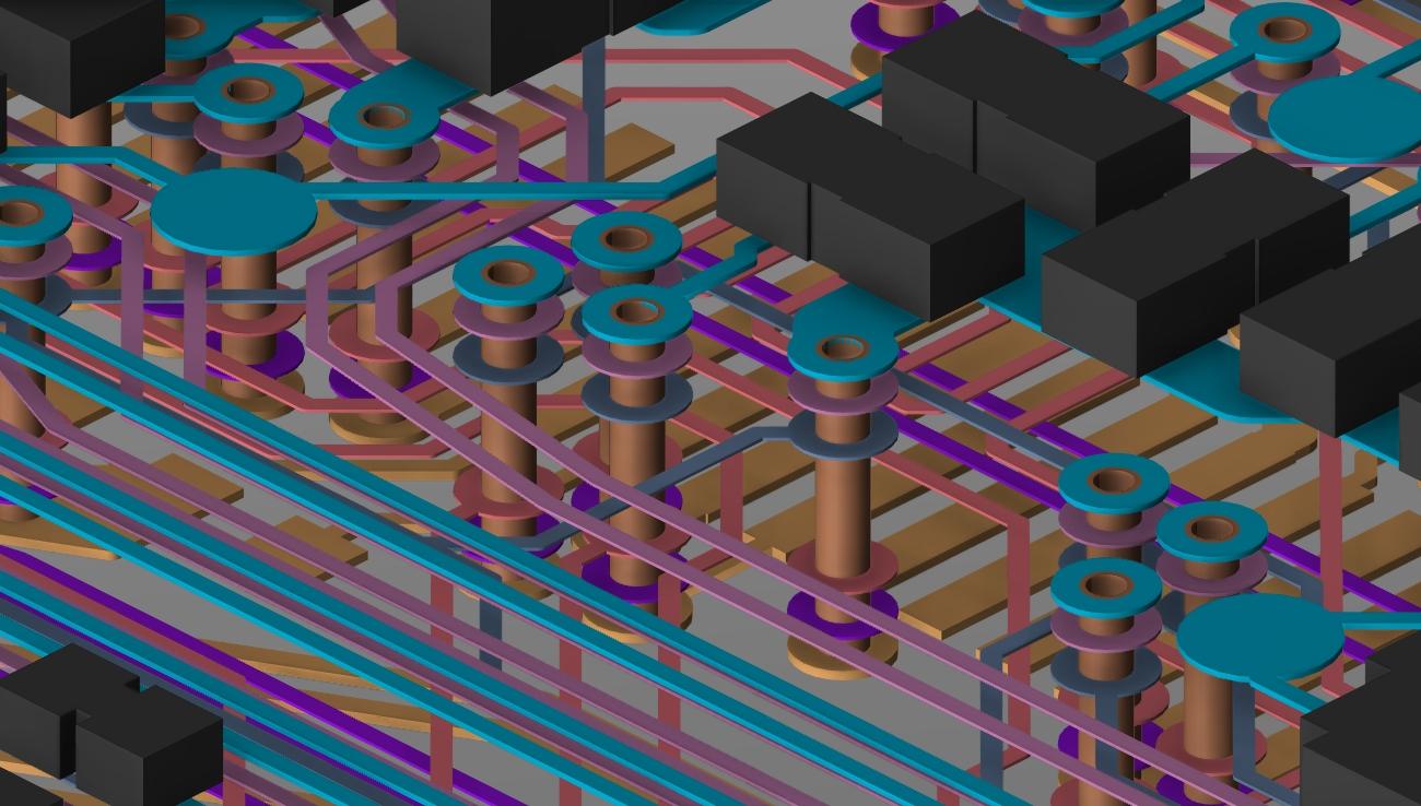 Screenshot of Cadence's 3D layout