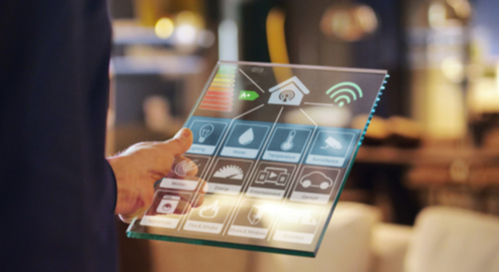 Futuristic energy management system on glass tablet