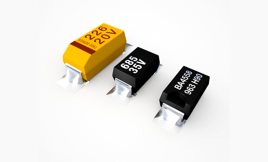 Three power transistors in a row on a white background