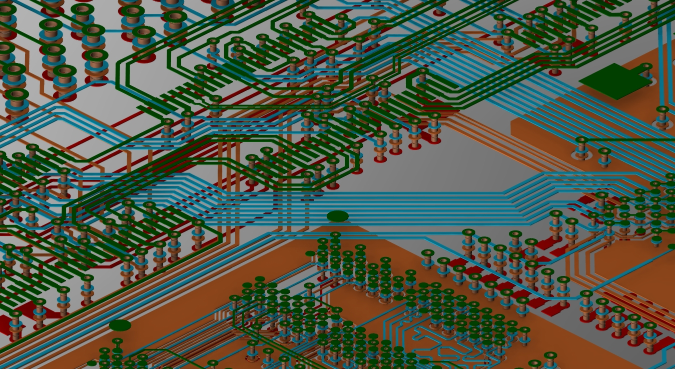 Screenshot of a 3D multi-layer PCB design