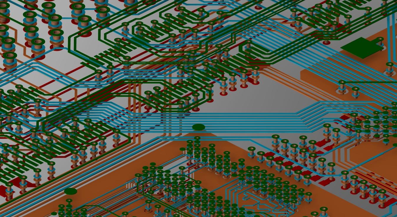 Screenshot of a 3D multi-layer PCB design