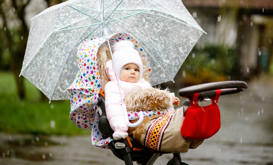 Picture of baby caught in the rain with a coat and umbrella