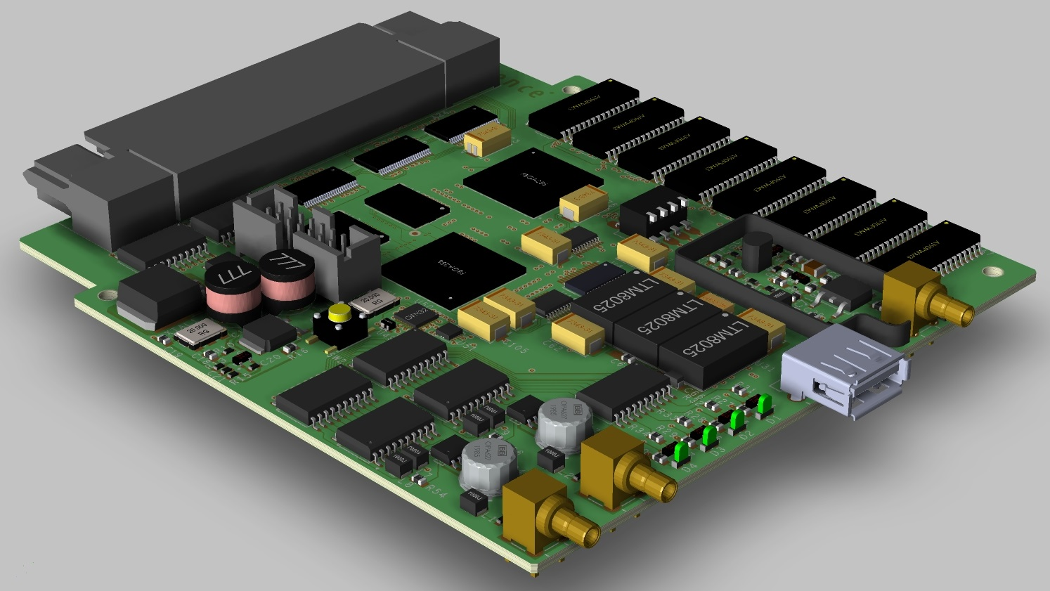 Screenshot of a 3D layout of a printed circuit board