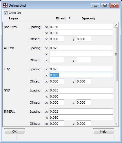 Screenshot of the OrCAD PCB Designer grid menu