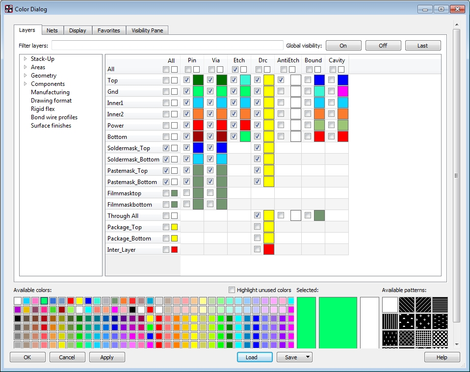 Screenshot of the color menu in the OrCAD PCB designer tool