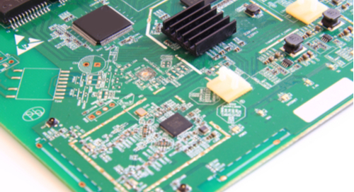 Green printed circuit board with electronic components