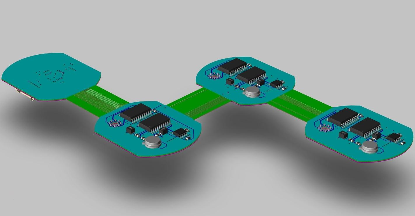 OrCAD PCB Designer 3D flex circuit laid out flat