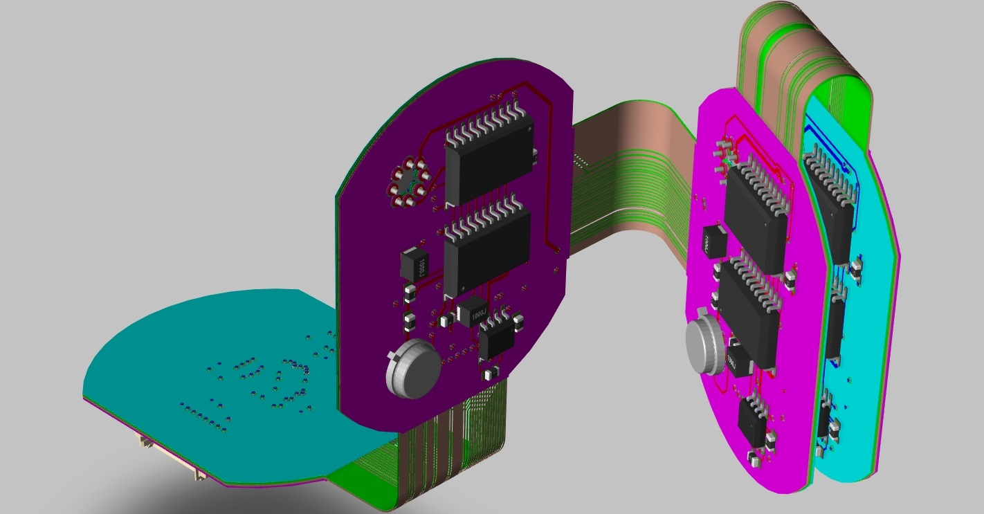 Screenshot of OrCAD PCB Designer 3D flex circuit layout folded up