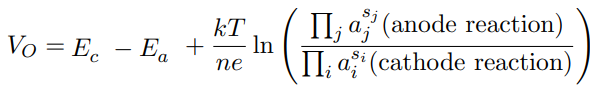 Nernst equation for the open-circuit voltage