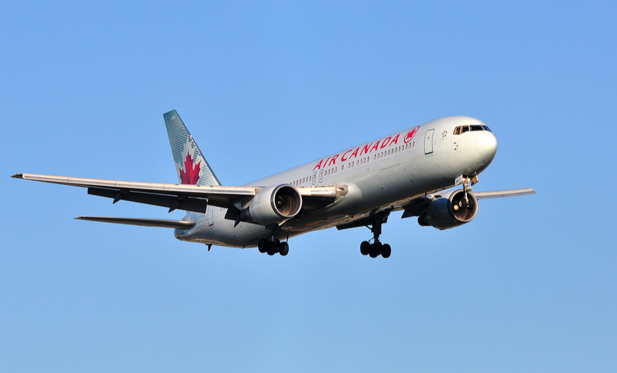 An Air Canada Boeing 767 coming in for a landing