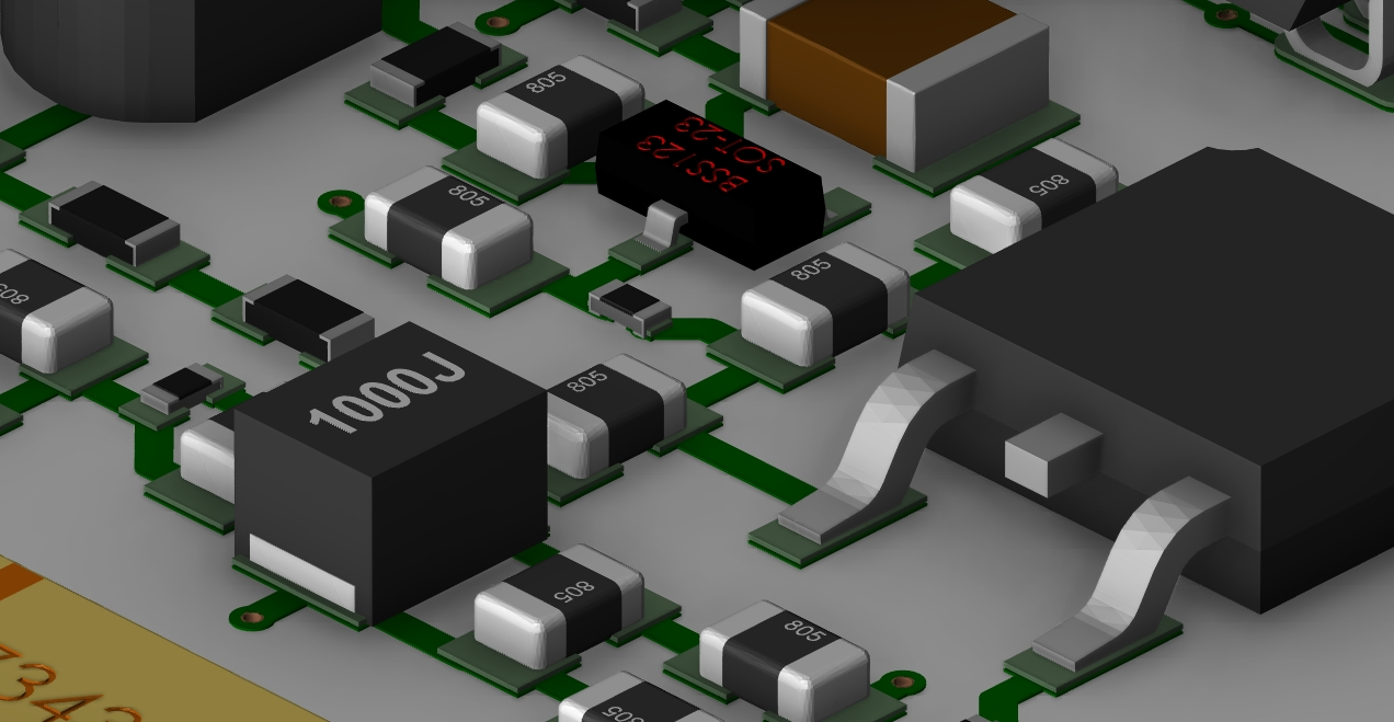 Screenshot of 3D footprint models in a PCB layout