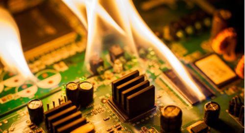 Printed circuit board on fire