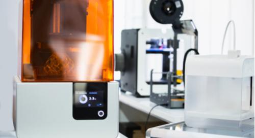 SLA machine in a 3D printing lab