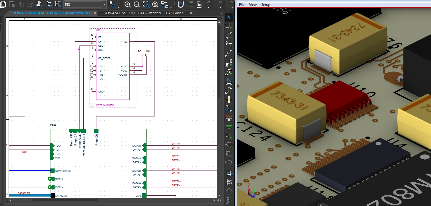Screenshot of cross-probing between a schematic and a 3D layout